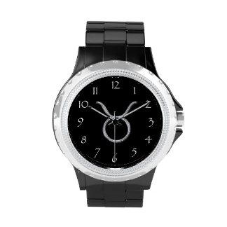 Tauro Zodiaco-Negro con la muestra del zodiaco de Relojes