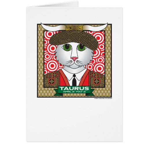 "Tauro Zodicat 5"" x 7"" tarjeta de felicitación"