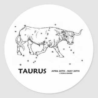 Taurus (April 20th - May 20th) Round Stickers