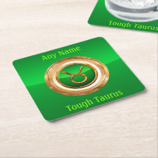Taurus Astrological Sign Square Paper Coaster