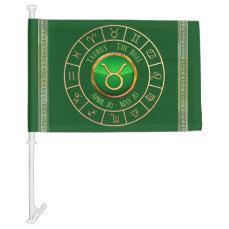 Taurus Astrological Symbol Car Flag