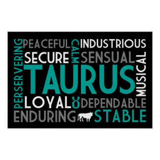 Taurus Astrology Word Collage Print