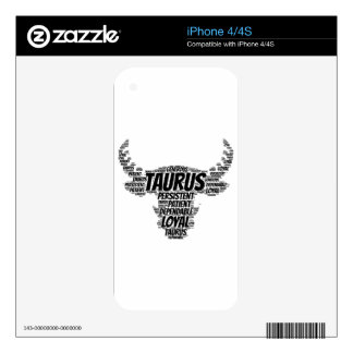 Taurus Astrology Zodiac Sign Word Cloud Decals For iPhone 4
