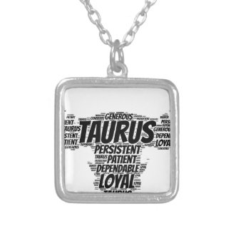 Taurus Astrology Zodiac Sign Word Cloud Silver Plated Necklace