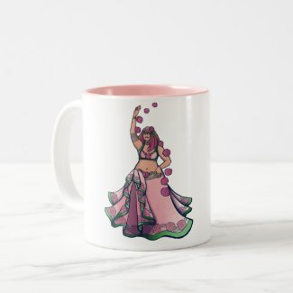 Taurus Belly Dancer Goddess Zodiac Art Two-Tone Coffee Mug