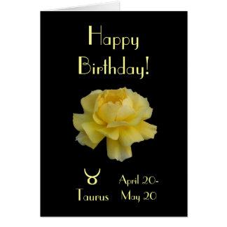 Taurus birthday rose card