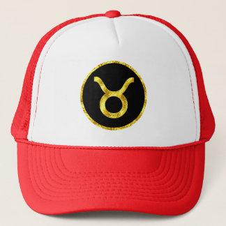 taurus-black-gold-crest-hat trucker hat