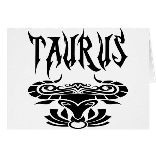 Taurus Black Letters Greeting Card