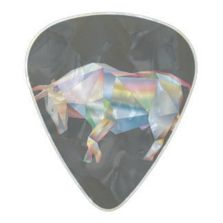 Taurus Bull Rainbow Prism Pearl Celluloid Guitar Pick