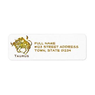 Taurus Bull Return Address Labels