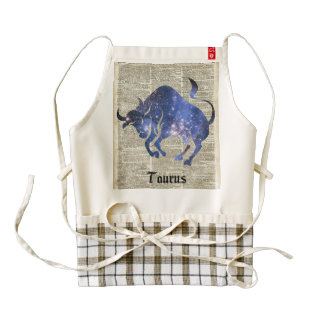 Taurus Bull Space Collage On Old Book Page Zazzle HEART Apron