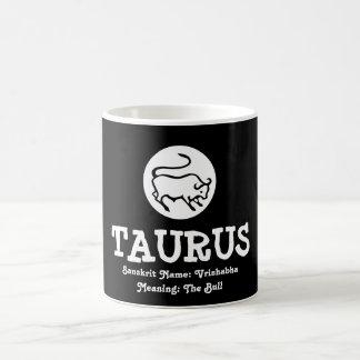 Taurus Bull Vrishabha Sanskrit Meaning Black White Coffee Mug