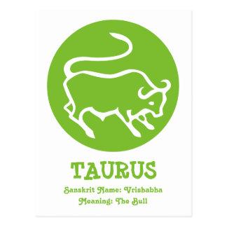 Taurus Bull Vrishabha Sanskrit Zodiac Astrology Postcard