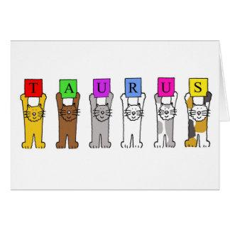 Taurus cartoon cats for birthdays. card