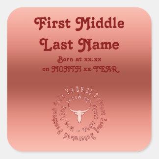 Taurus Characteristics Personalise New Born Baby Square Sticker