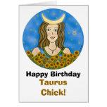 Taurus Chick Birthday Card