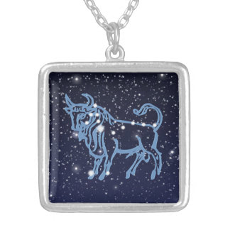 Taurus Constellation and Zodiac Sign with Stars Silver Plated Necklace