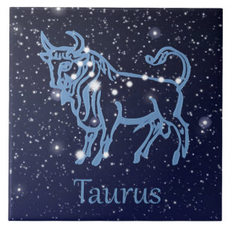 Taurus Constellation and Zodiac Sign with Stars Tile