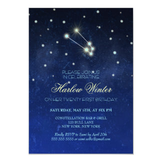 Taurus Constellation Birthday Party Card