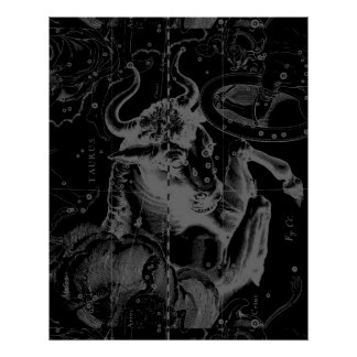 Taurus Constellation Hevelius 1690 Decor Poster