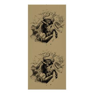 Taurus Constellation Hevelius 1690 Engraving Rack Card