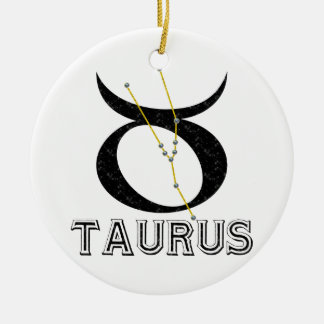Taurus Double-Sided Ceramic Round Christmas Ornament