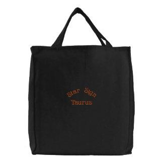 TAURUS EMBROIDERED TOTE BAG