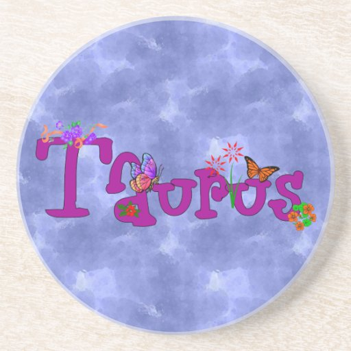 Taurus Flowers Beverage Coasters
