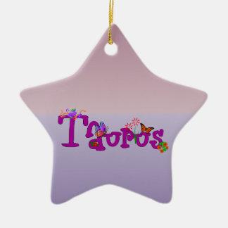 Taurus Flowers Ceramic Ornament