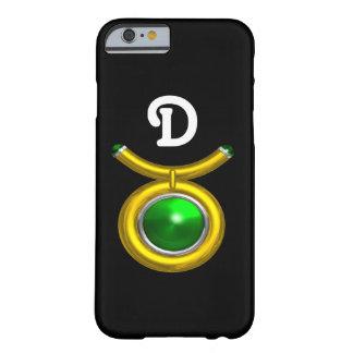 TAURUS /GOLD,GREEN EMERALD ZODIAC JEWEL MONOGRAM BARELY THERE iPhone 6 CASE