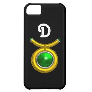 TAURUS /GOLD,GREEN EMERALD ZODIAC JEWEL MONOGRAM iPhone 5C COVER