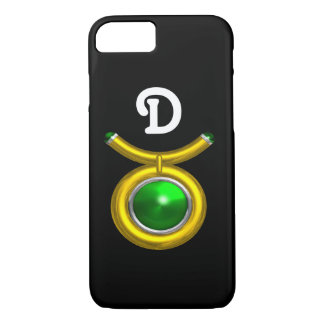 TAURUS /GOLD,GREEN EMERALD ZODIAC JEWEL MONOGRAM iPhone 7 CASE