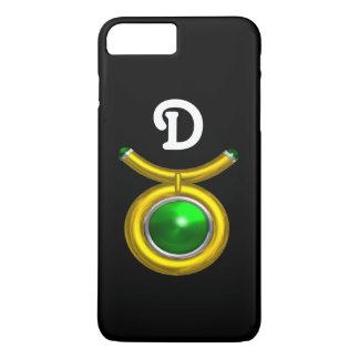 TAURUS /GOLD,GREEN EMERALD ZODIAC JEWEL MONOGRAM iPhone 7 PLUS CASE