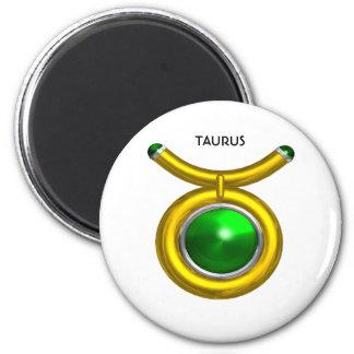 TAURUS /GOLD,GREEN EMERALD ZODIAC SIGN JEWEL 2 INCH ROUND MAGNET