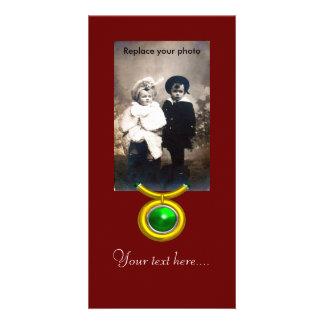 TAURUS /GOLD,GREEN EMERALD ZODIAC SIGN JEWEL CARD