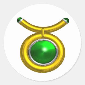 TAURUS /GOLD,GREEN EMERALD ZODIAC SIGN JEWEL CLASSIC ROUND STICKER