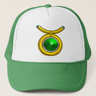 TAURUS /GOLD,GREEN EMERALD ZODIAC SIGN JEWEL TRUCKER HAT