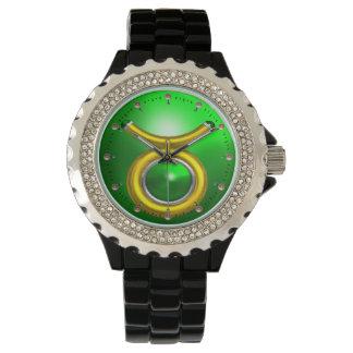 TAURUS GOLD ZODIAC BIRTHDAY JEWEL,Green Emerald Wrist Watch