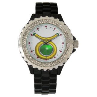 TAURUS GOLD ZODIAC BIRTHDAY JEWEL,Green ,White Wristwatch