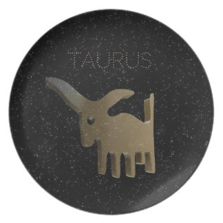 Taurus golden sign dinner plate