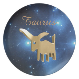 Taurus golden sign melamine plate