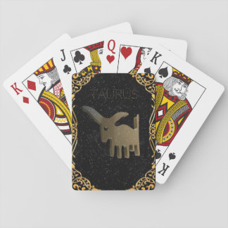 Taurus golden sign playing cards