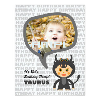 Taurus Kids Party Invitation with photo
