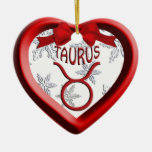 Taurus Red Heart Snowflake Christmas Ornament