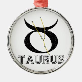 Taurus Round Metal Christmas Ornament