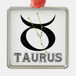 Taurus Square Metal Christmas Ornament