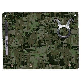 Taurus Symbol on Olive Green Digital Camo Dry Erase Board With Keychain Holder