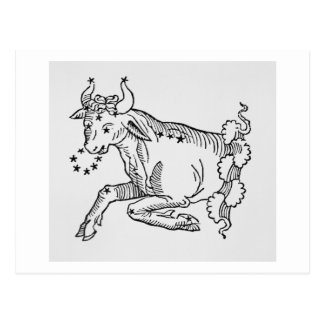 Taurus (the Bull) an illustration from the 'Poetic Postcard