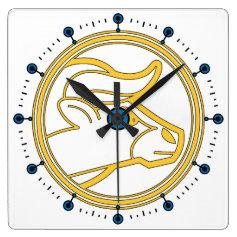 Taurus the Bull Astrological Zodiac Square Wallclock