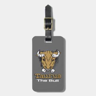 Taurus the Bull grey horoscope id luggage tag